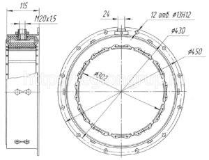 Муфта шинно-пневматическая ШПМ 300х100-I односторонняя 4066.40.025 СБ