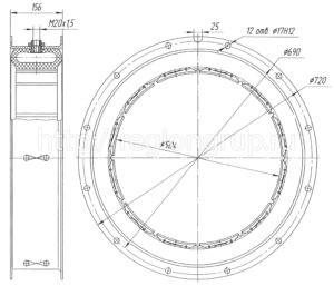 Муфта шинно-пневматическая ШПМ 500х125-I односторонняя 4066.41.025 СБ